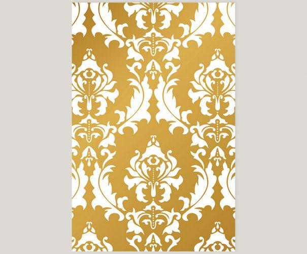 gold damasks wedding invitations