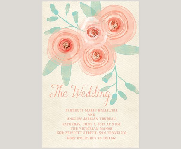 THE PRUE - Watercolor blush flowers wedding invitations