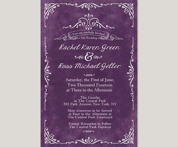 Vintage-style purple wedding invitations