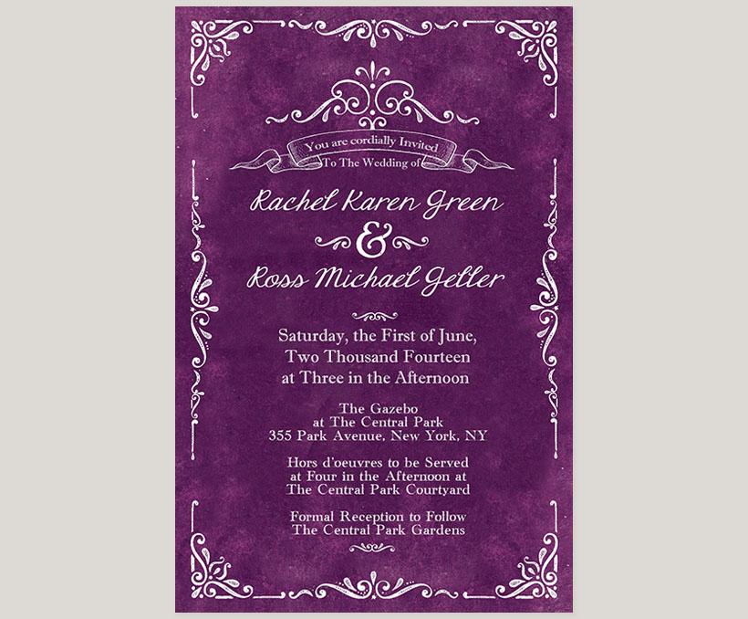 Purple Passion Vintage Wedding Invitations The Rachel The Roche Shop