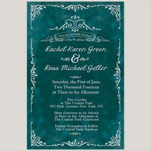 The Rachel Vintage Style Scrolls Teal Wedding Invitations