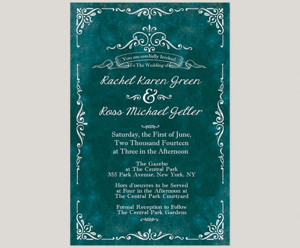 Vintage-style teal wedding invitations