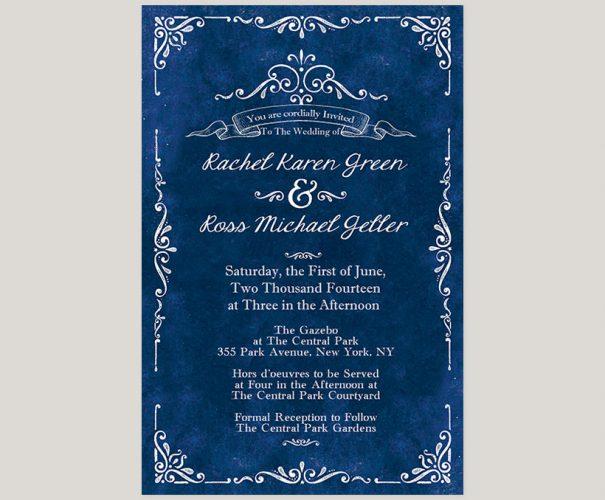 Vintage-inspired royal blue wedding invitations
