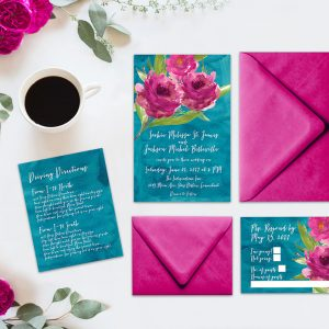 Raspberry pink roses on teal watercolor wedding invitations