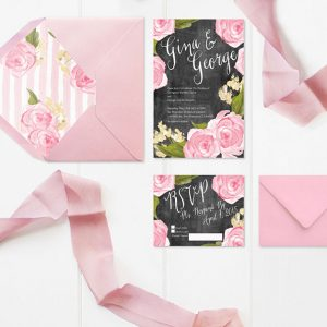Chalkboard & pink rose wedding invitations