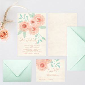 Watercolor blush flowers wedding invitations