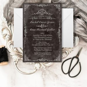 Black vintage-inspired wedding invitations
