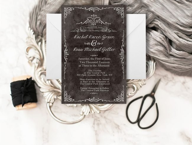 Black vintage-inspired wedding invitations