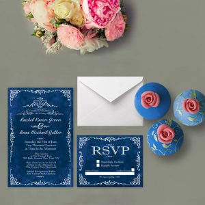 Vintage-inspired royal blue wedding invitations