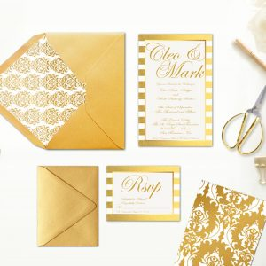 gold damasks & stripes wedding invitations