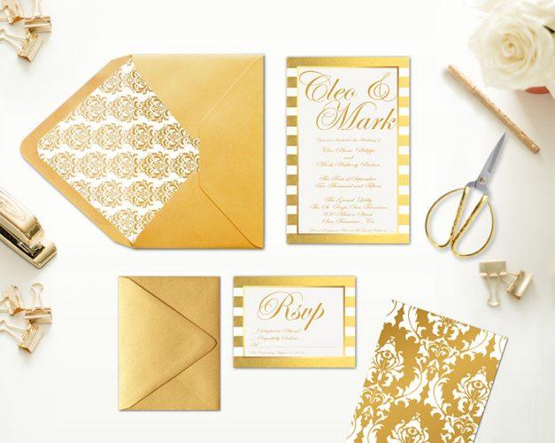 gold damasks & stripes wedding invitations