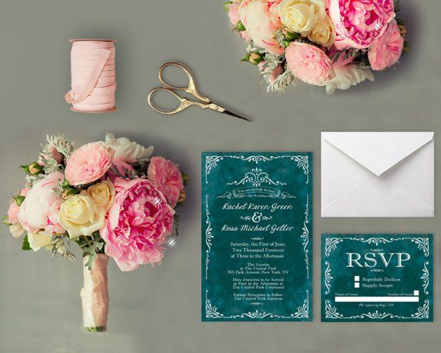 Vintage-style scrolls teal wedding invitations
