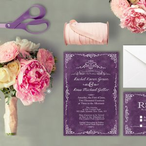 Vintage-style scrolls purple wedding invitations