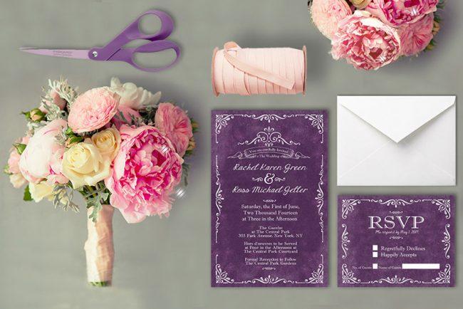 Vintage-style scrolls purple wedding invitations