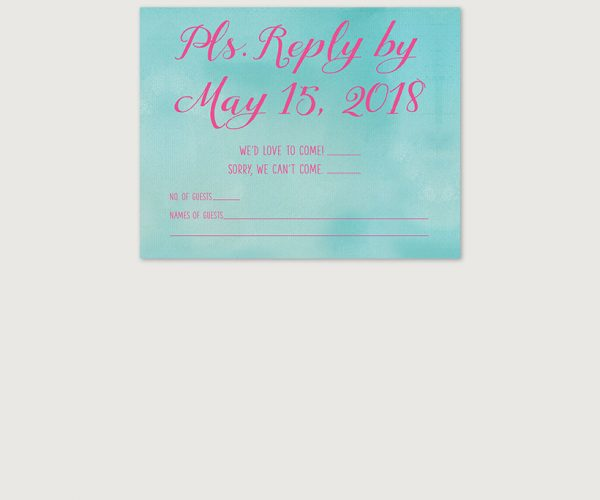 Turquoise & pink watercolor wedding invitations