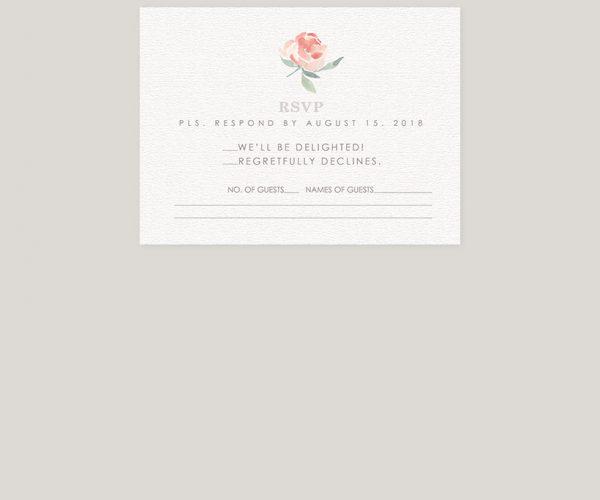 THE ELLE - Peaches & cream peony watercolor wedding invitations