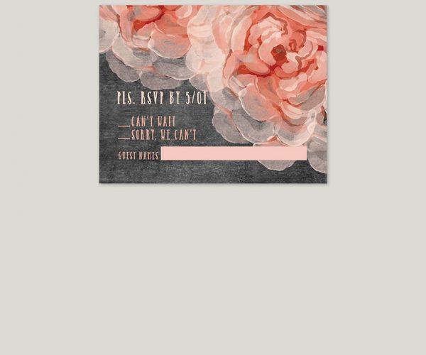 THE PIA - Peach peonies chalkboard wedding invitations