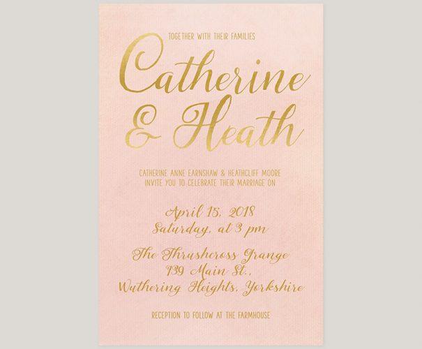 Blush & gold watercolor wedding invitations