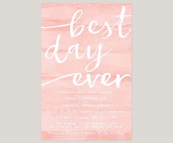 Watercolor brush blush wedding invitations