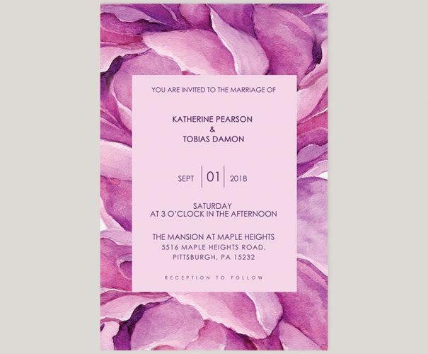 Purple peonies watercolor wedding invitations