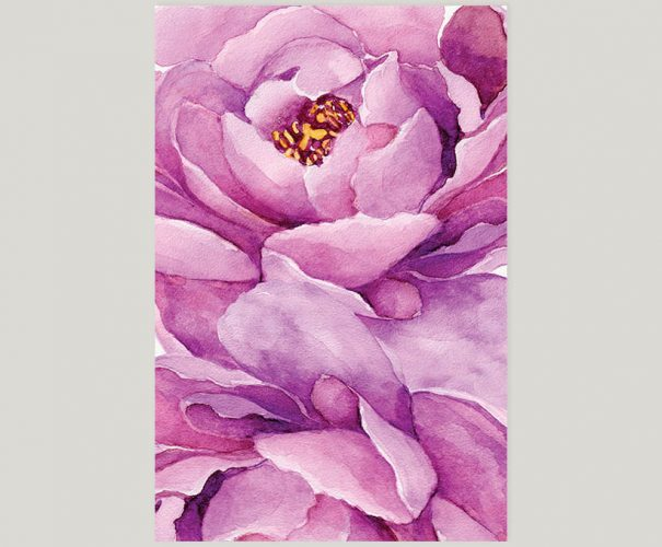 Purple peony watercolor wedding invitations