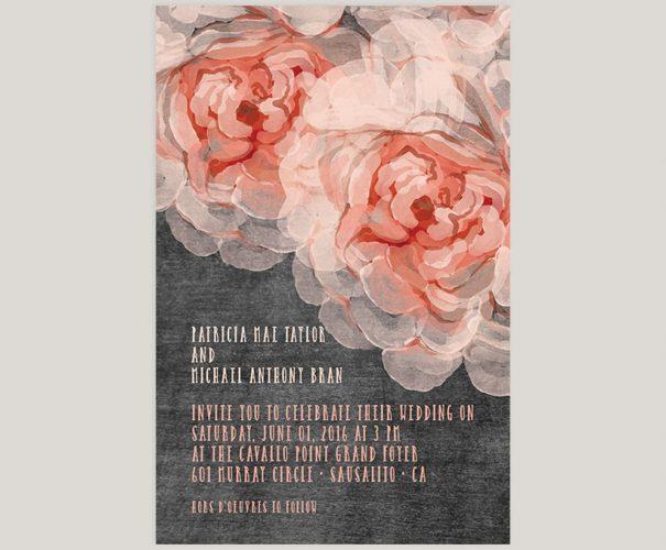 Peach peonies chalkboard wedding invitations