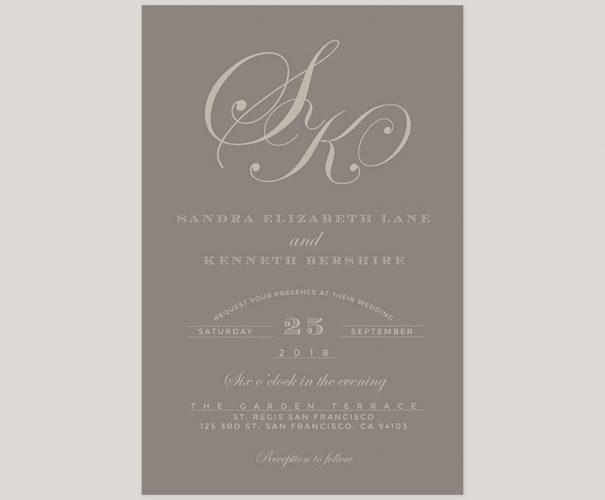 Grey monogram wedding invitations
