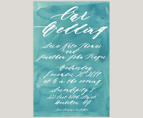 Aqua watercolor calligraphy wedding invitations