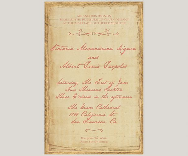 THE VICTORIA - Vintage Victorian-inspired distressed wedding invitations