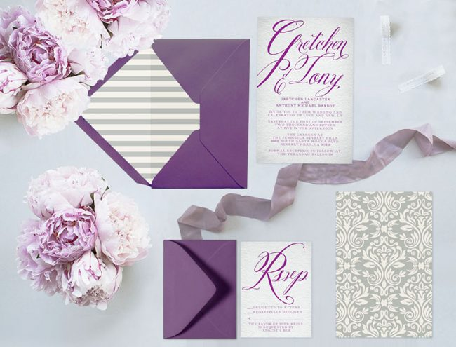 Purple and grey damasks wedding invitations