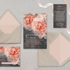 Peach peonies chalkboard wedding invitations