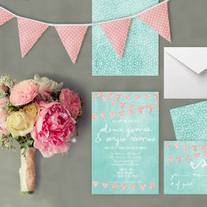 Mint & coral polka dot bunting wedding invitations