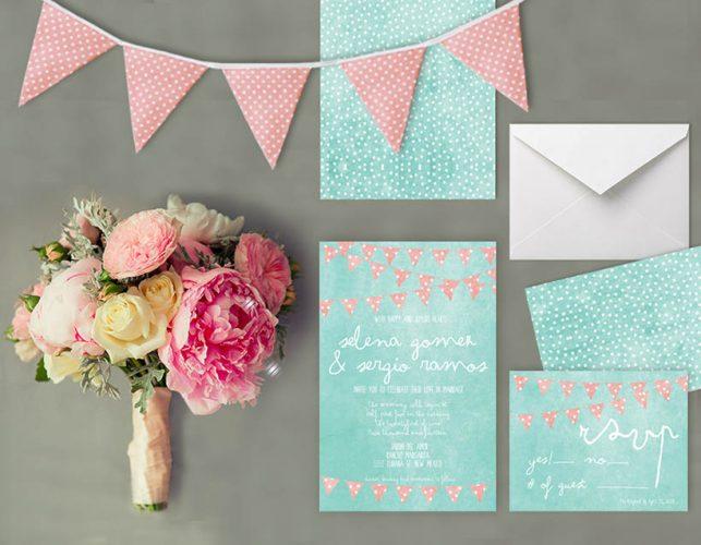 Mint & coral polka dot bunting wedding invitations