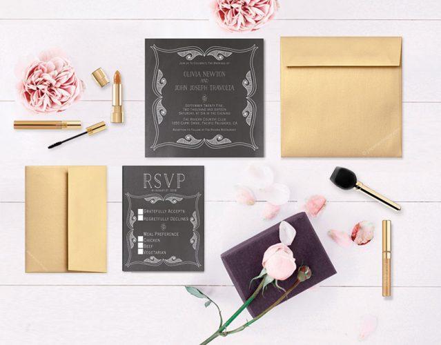 Gatsby-inspired chalkboard wedding invitations