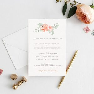 Peaches & cream peony watercolor wedding invitations