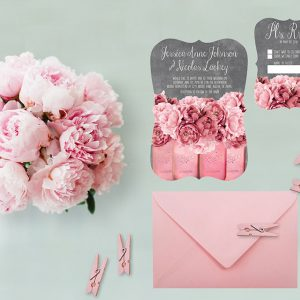 Coral pink peonies on mason jars wedding invitations