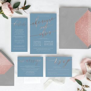 Niagara blue & rose gold calligraphy wedding invitations