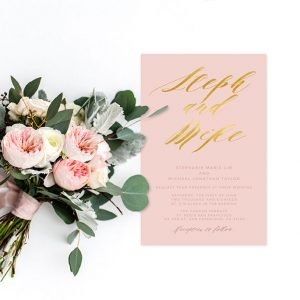 Blush & gold calligraphy wedding invitations