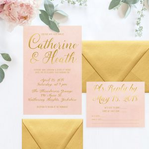 Blush & gold watercolor wedding invitations