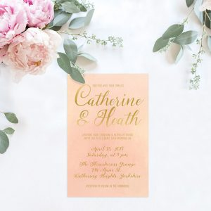 Blush and Gold watercolor wedding invitations