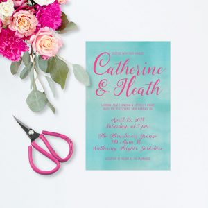 THE CATHERINE - Turquoise & pink watercolor wedding invitations