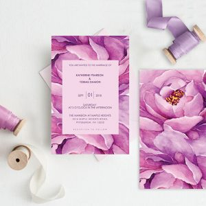 Purple peonies watercolor wedding invitations
