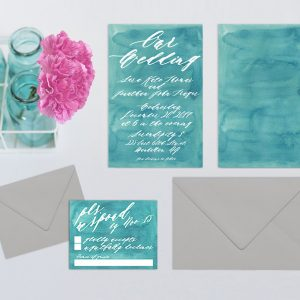 Aqua watercolor calligraphy wedding invitations
