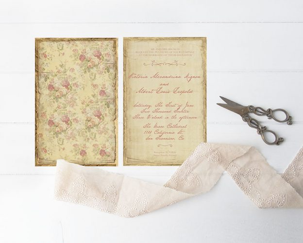 Vintage Victorian-inspired distressed wedding invitations