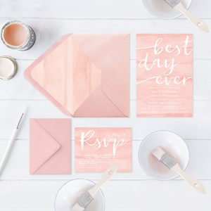 Watercolor brush blush wedding invitations