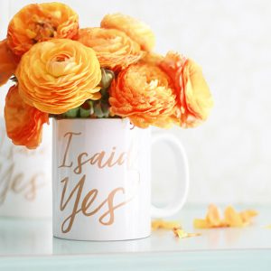 I said yes faux gold calligraphy coffee mug
