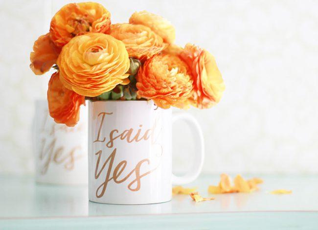 I said yes faux gold calligraphy coffee mug