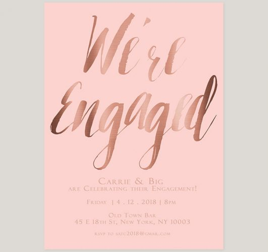 blush & rose gold calligraphy engagement party invitations