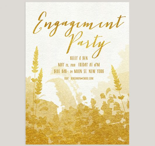 Rustic chic gold engagement party invitations