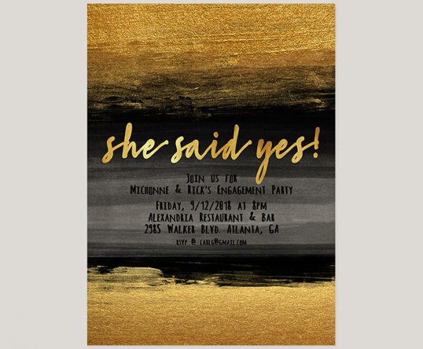 Gold & Black Watercolor Engagement Party Invitations
